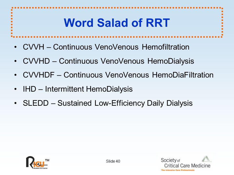 Word Salad of RRT CVVH – Continuous VenoVenous Hemofiltration