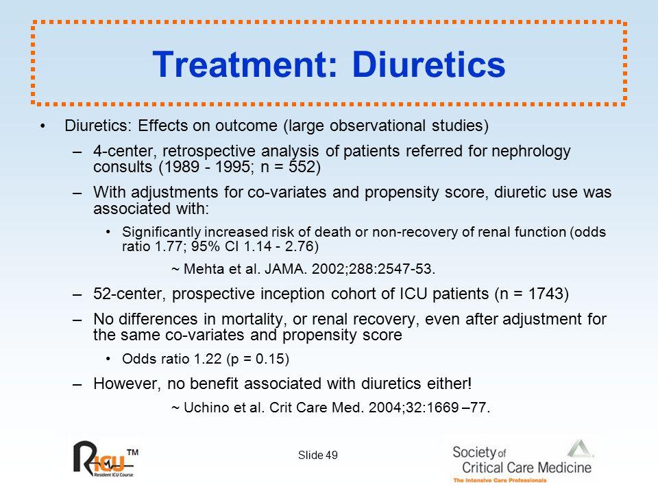 Treatment: Diuretics Diuretics: Effects on outcome (large observational studies)