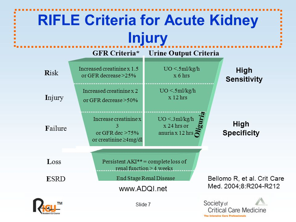 RIFLE Criteria for Acute Kidney Injury