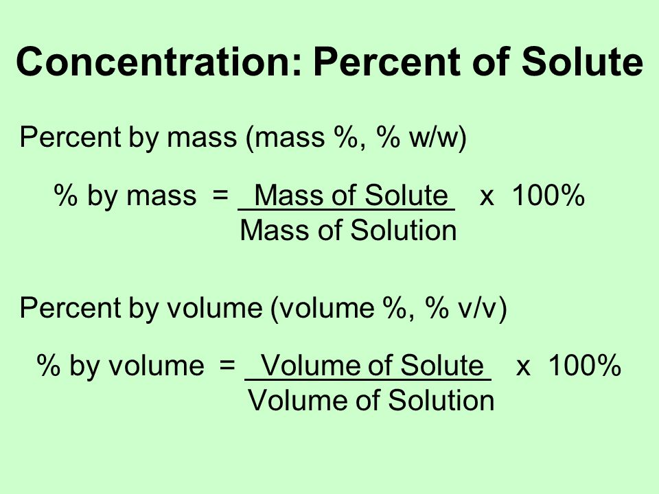 Concentration: Percent of Solute