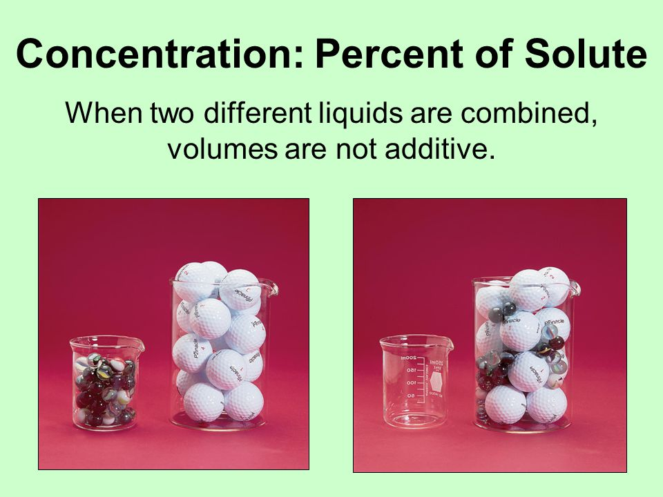 Concentration: Percent of Solute When two different liquids are combined, volumes are not additive.