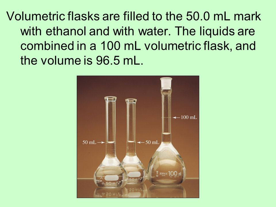Volumetric flasks are filled to the 50