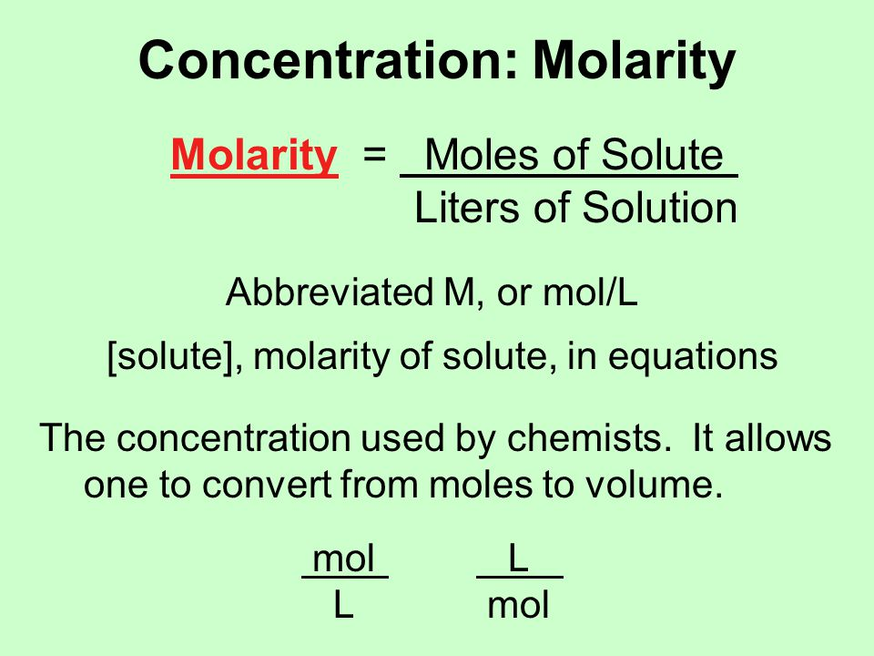 Concentration: Molarity