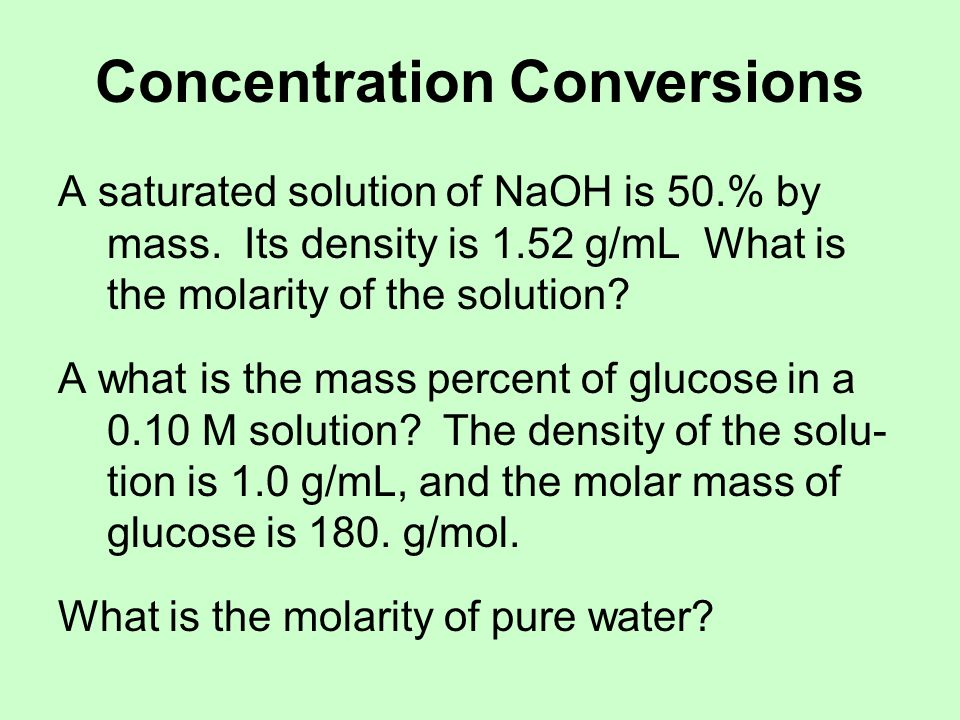 Concentration Conversions
