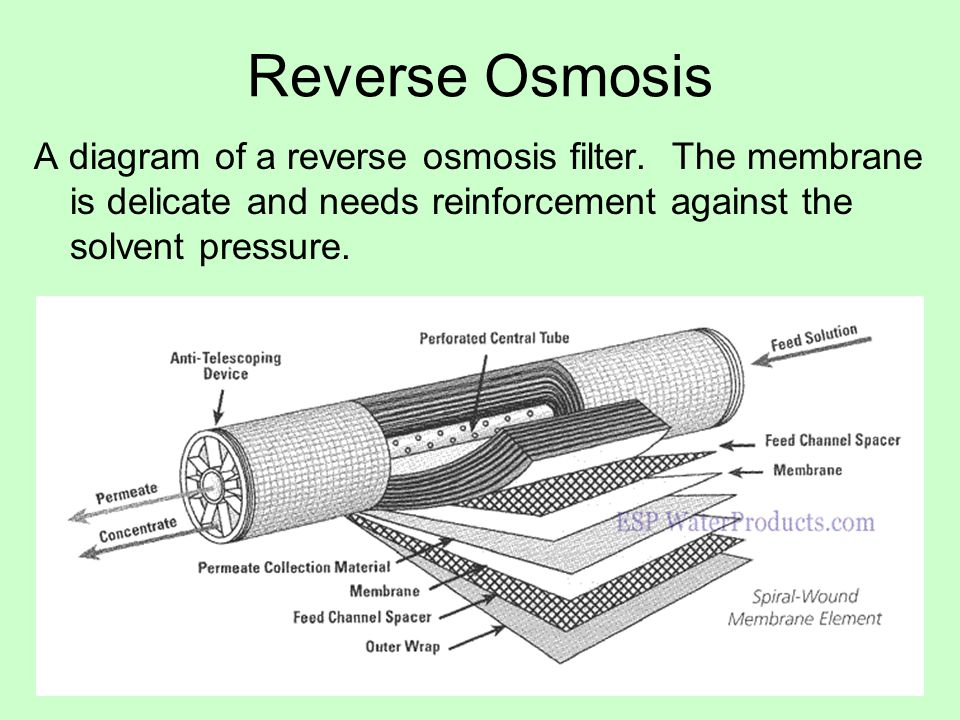 Reverse Osmosis A diagram of a reverse osmosis filter.