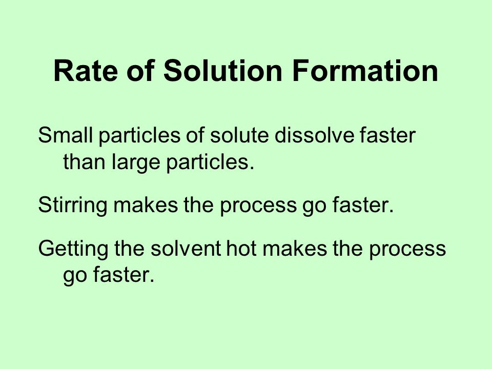 Rate of Solution Formation