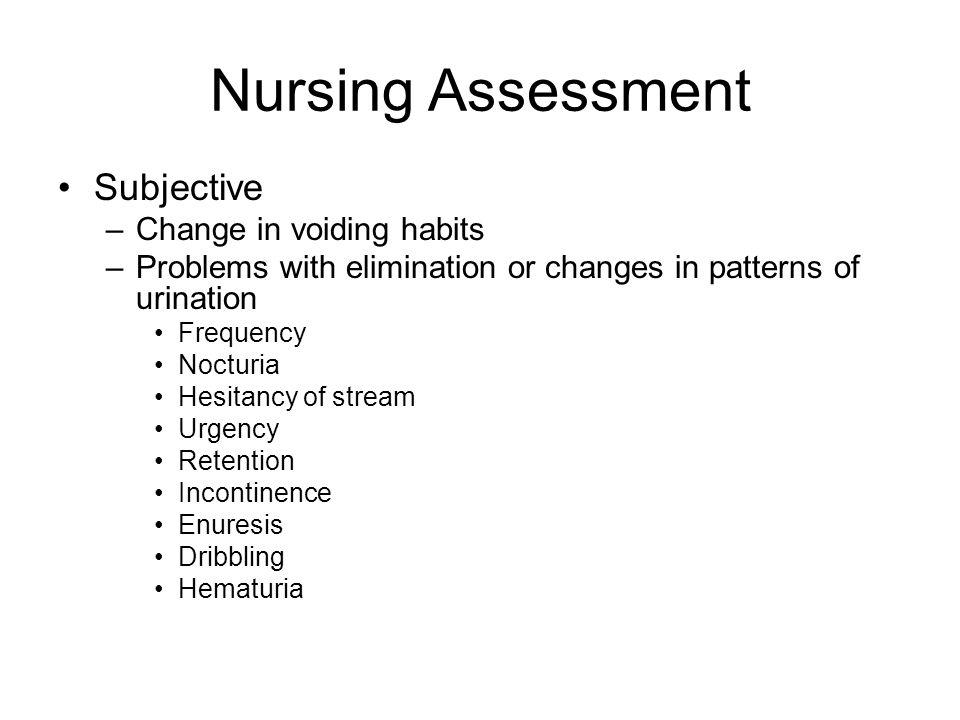 Nursing Assessment Subjective Change in voiding habits