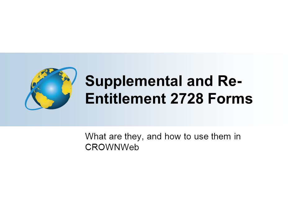 Supplemental and Re-Entitlement 2728 Forms