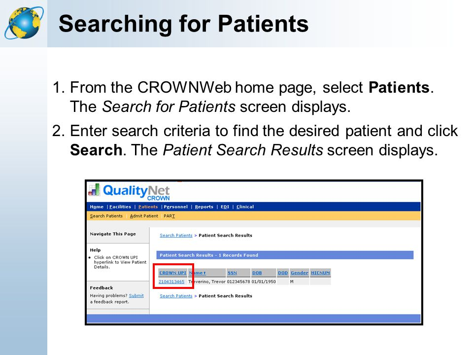Searching for Patients