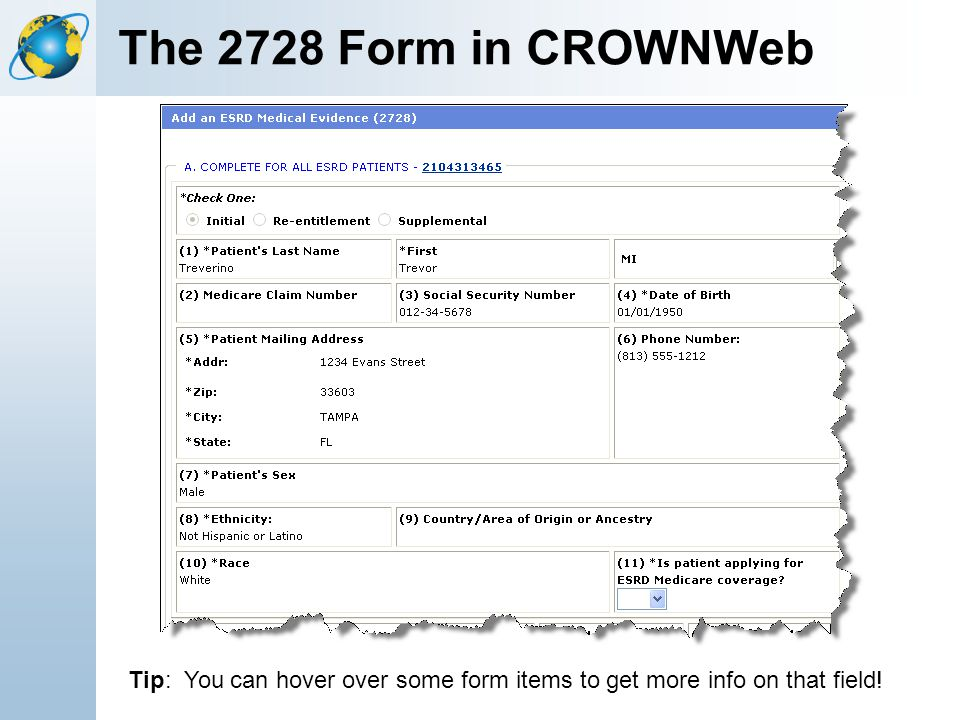 The 2728 Form in CROWNWeb Tip: You can hover over some form items to get more info on that field!