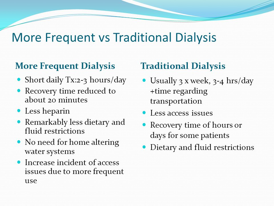 More Frequent vs Traditional Dialysis