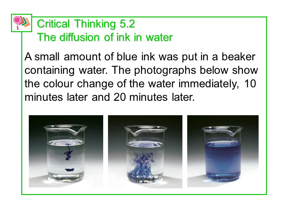 Critical Thinking 5.2 The diffusion of ink in water