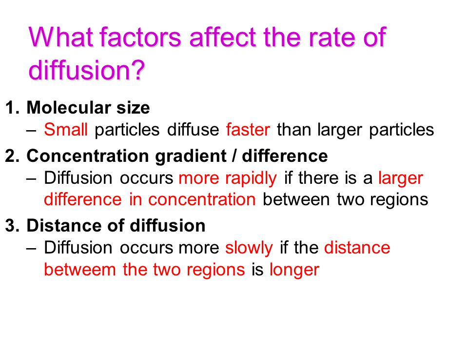 What factors affect the rate of diffusion