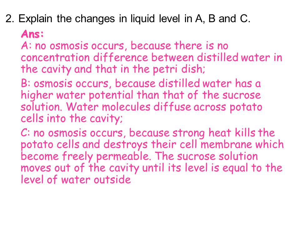 2. Explain the changes in liquid level in A, B and C.