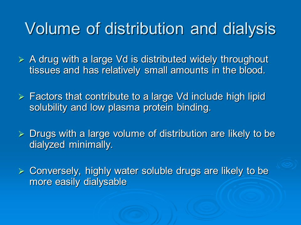 Volume of distribution and dialysis