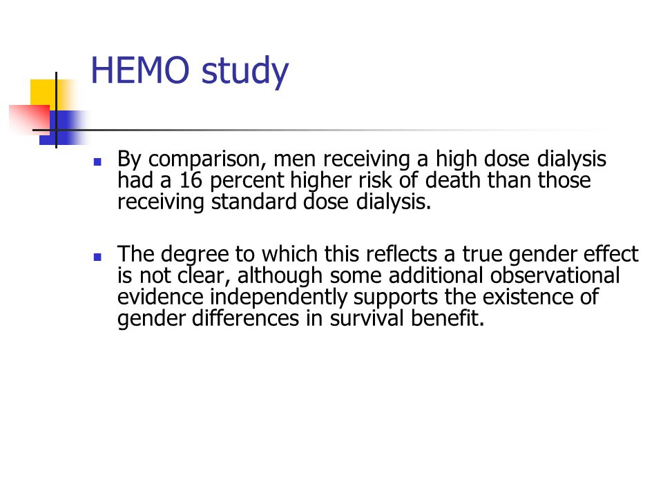 HEMO study By comparison, men receiving a high dose dialysis had a 16 percent higher risk of death than those receiving standard dose dialysis.