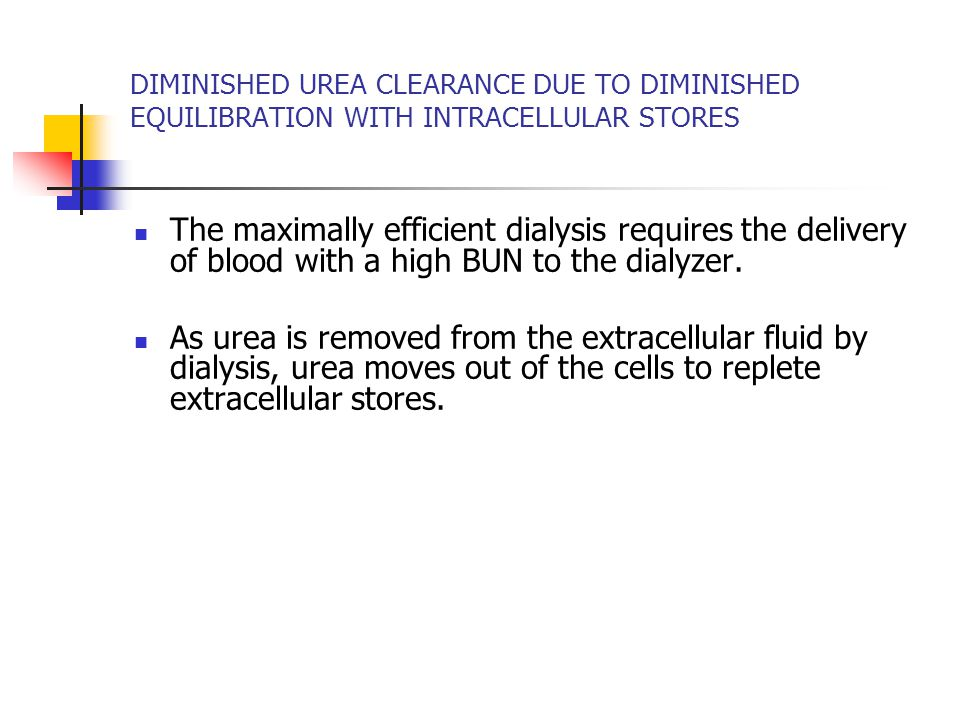 DIMINISHED UREA CLEARANCE DUE TO DIMINISHED EQUILIBRATION WITH INTRACELLULAR STORES