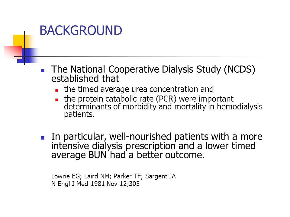 BACKGROUND The National Cooperative Dialysis Study (NCDS) established that. the timed average urea concentration and.