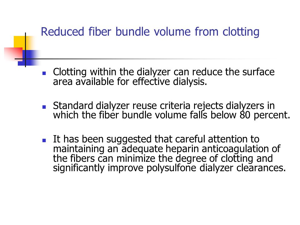 Reduced fiber bundle volume from clotting