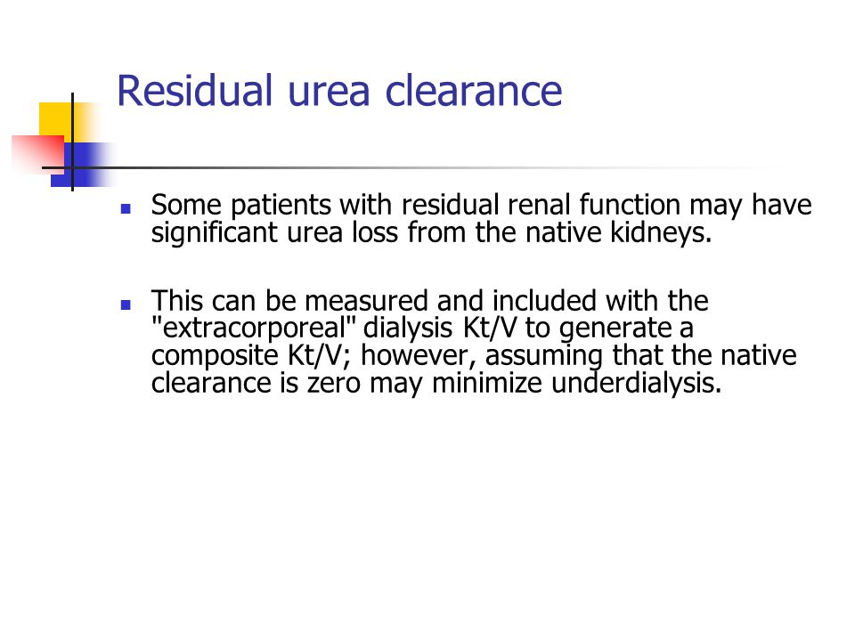 Residual urea clearance