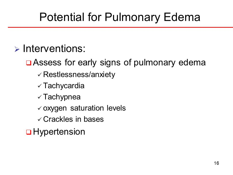 Potential for Pulmonary Edema