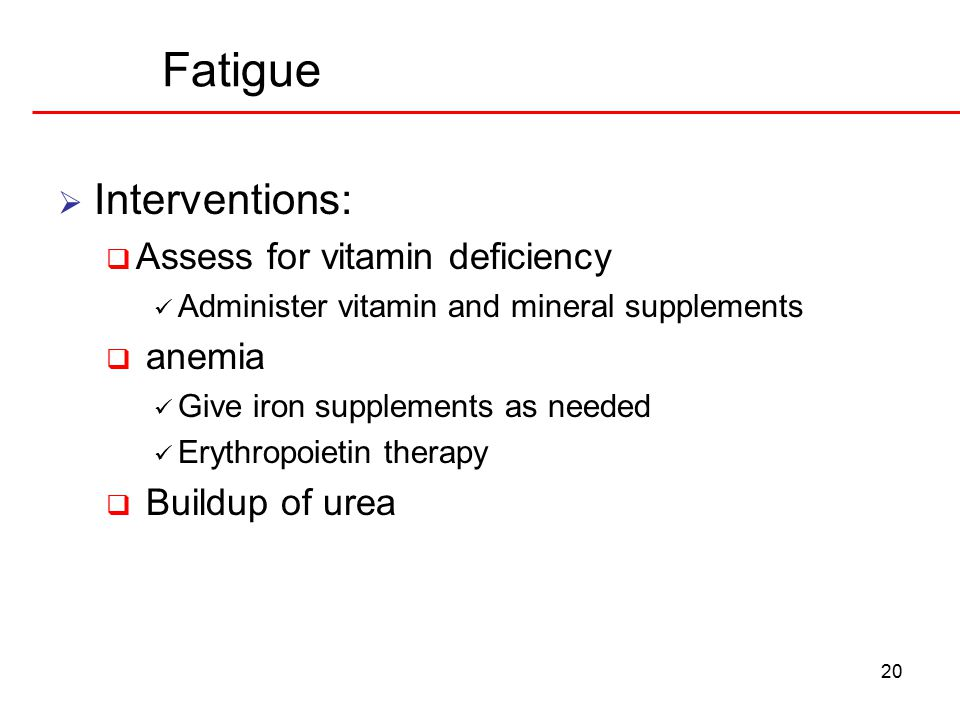 Fatigue Interventions: Assess for vitamin deficiency anemia