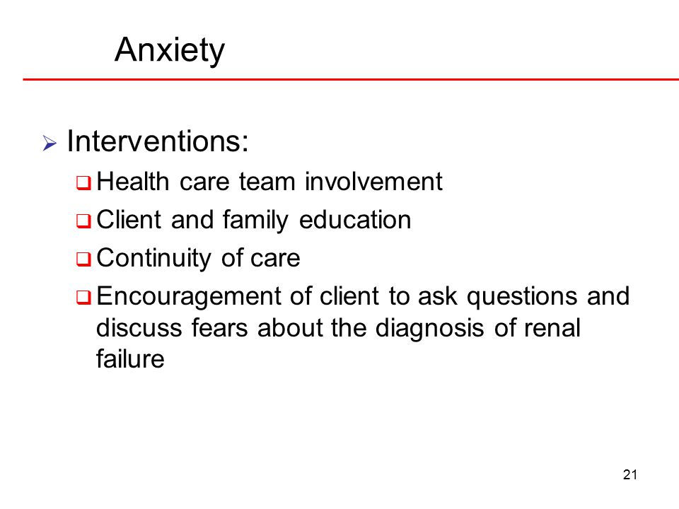 Anxiety Interventions: Health care team involvement