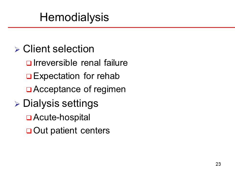 Hemodialysis Client selection Dialysis settings