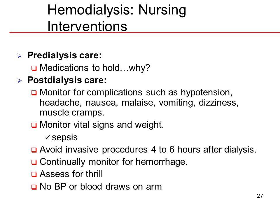 Hemodialysis: Nursing Interventions