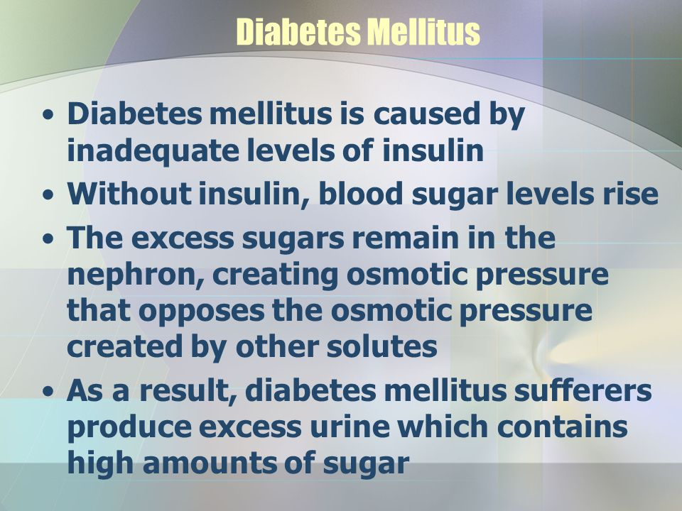 Diabetes Mellitus Diabetes mellitus is caused by inadequate levels of insulin. Without insulin, blood sugar levels rise.