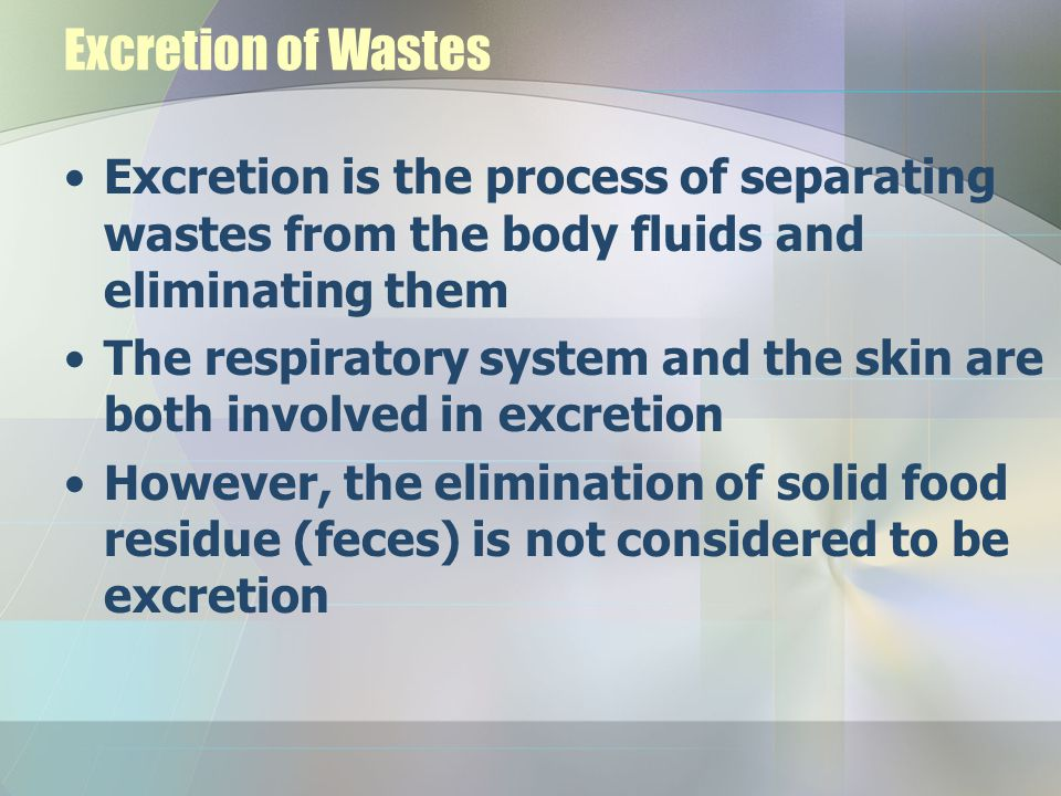 Excretion of Wastes Excretion is the process of separating wastes from the body fluids and eliminating them.