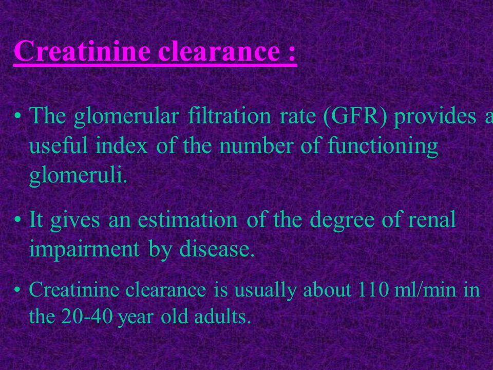 Creatinine clearance :