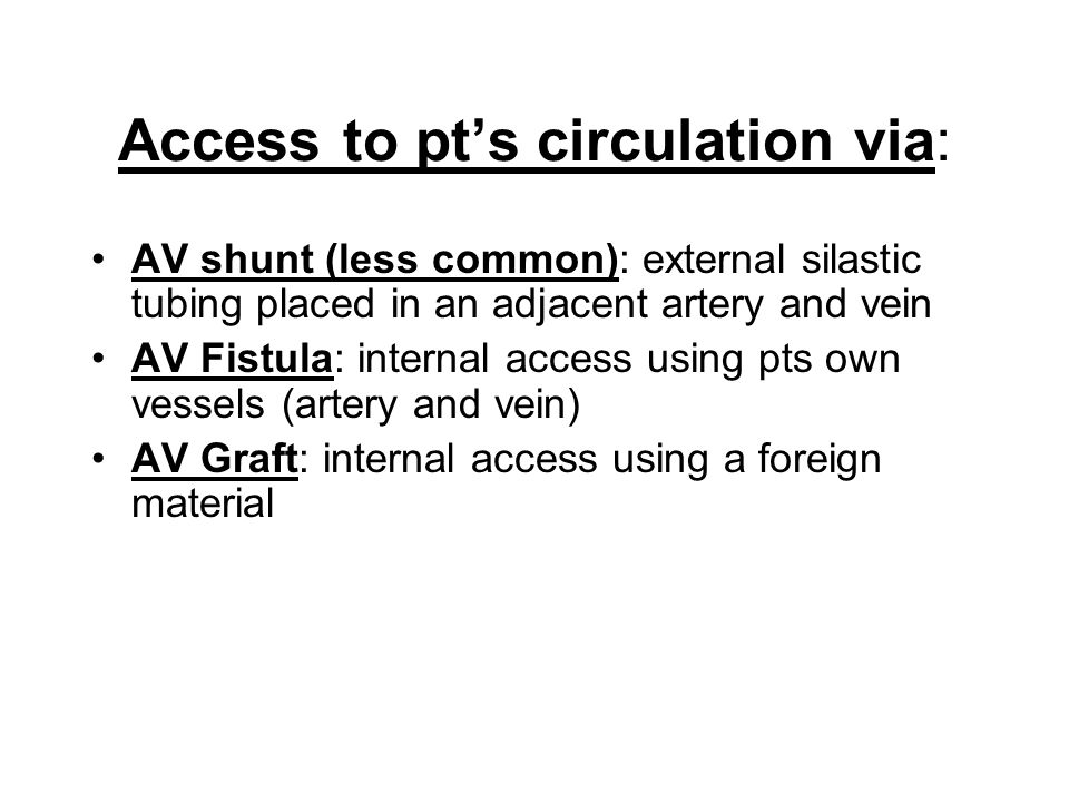 Access to pt's circulation via: