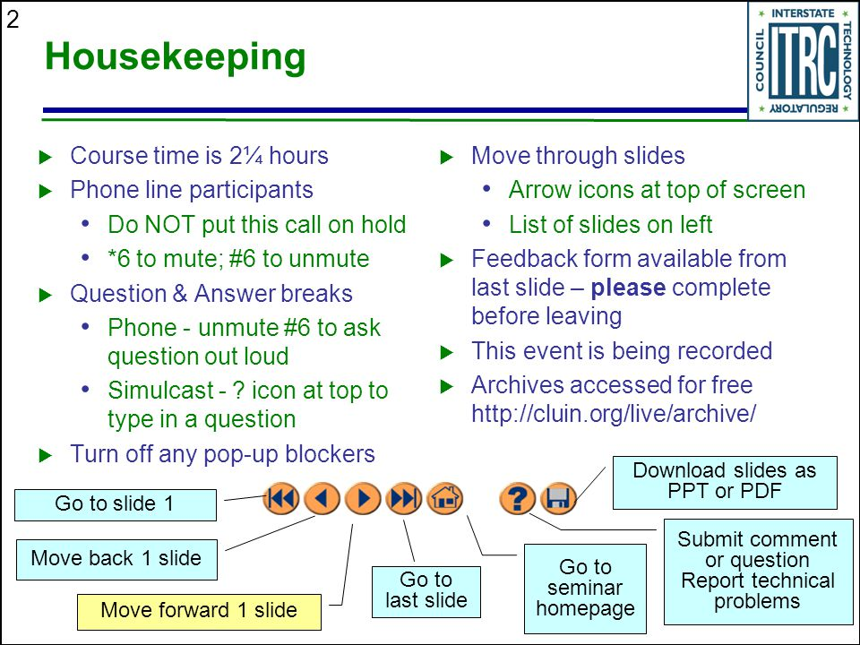 Housekeeping Course time is 2¼ hours Phone line participants