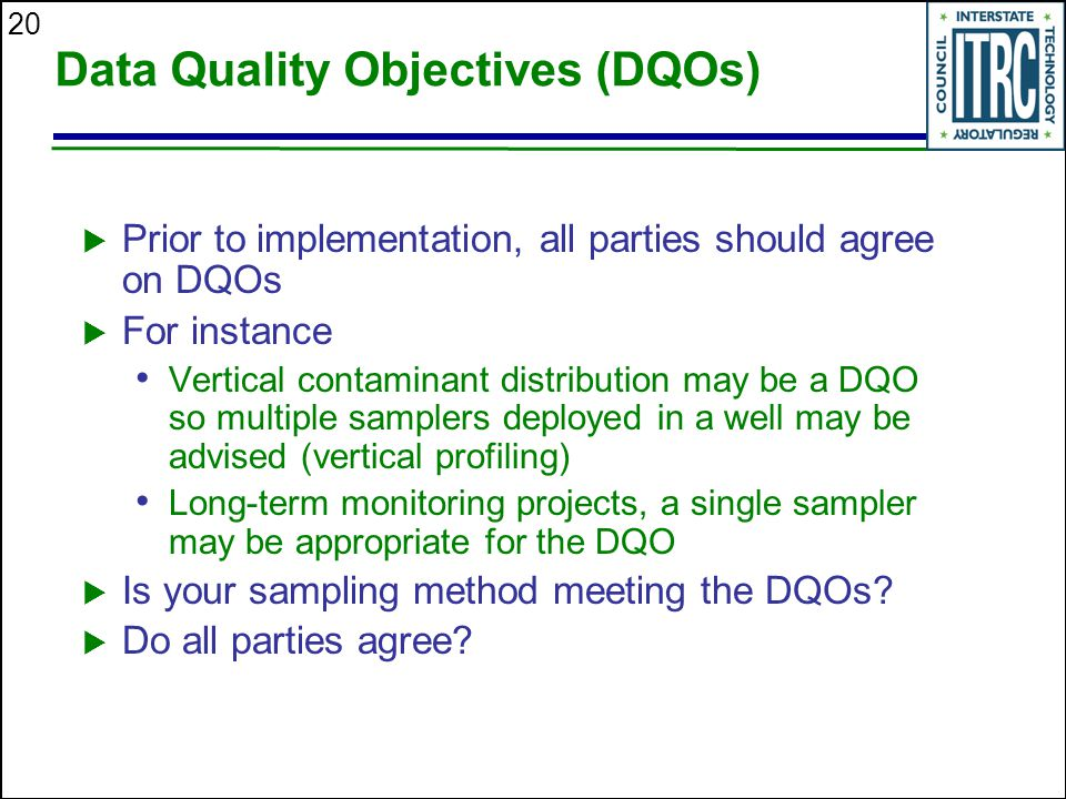 Data Quality Objectives (DQOs)