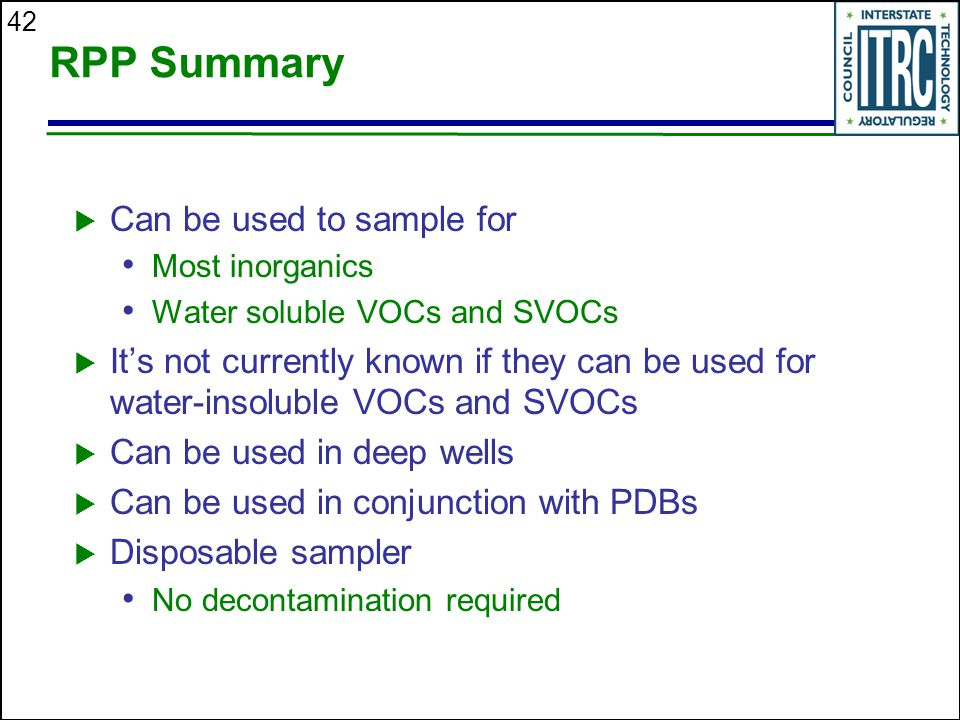 RPP Summary Can be used to sample for