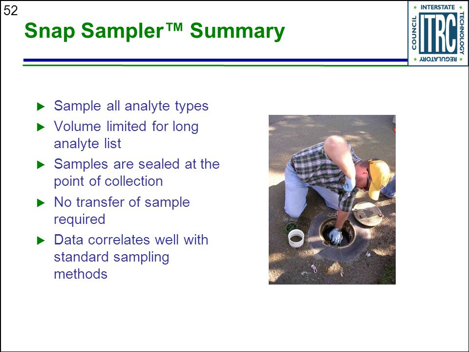 Snap Sampler™ Summary Sample all analyte types