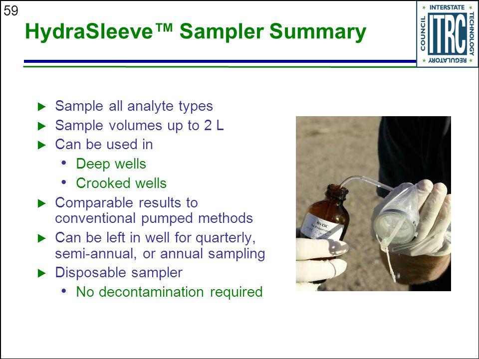HydraSleeve™ Sampler Summary