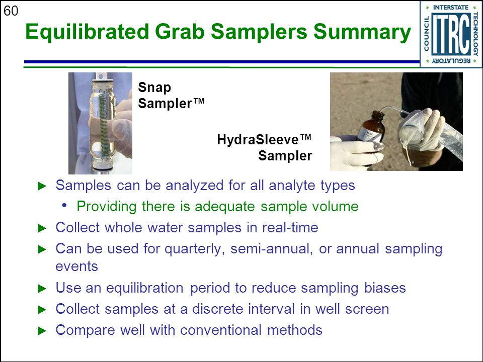 Equilibrated Grab Samplers Summary