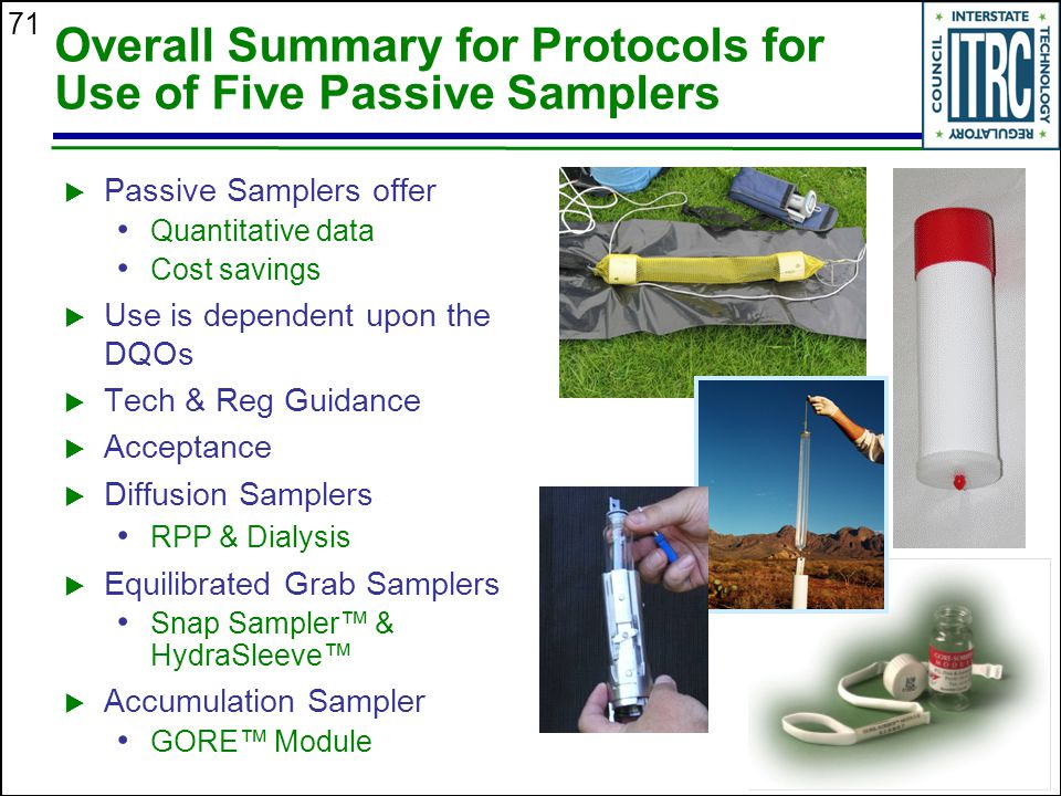 Overall Summary for Protocols for Use of Five Passive Samplers
