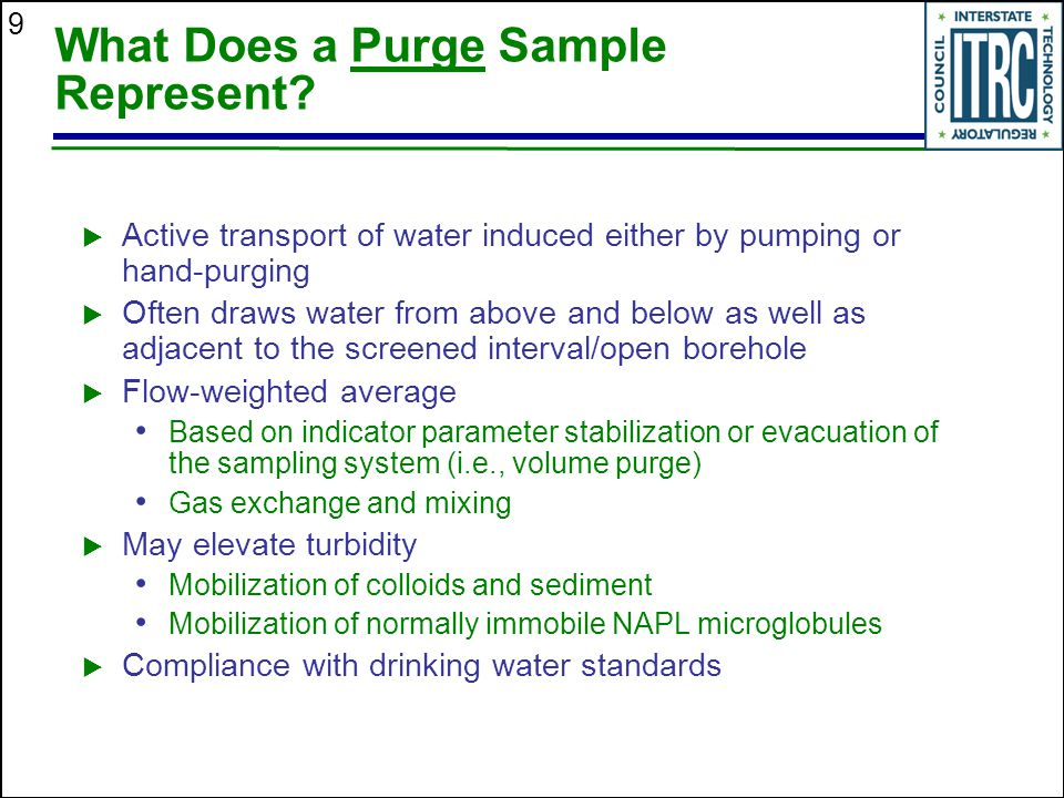 What Does a Purge Sample Represent