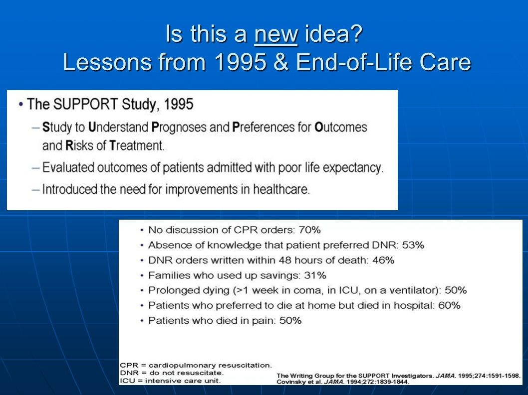 Is this a new idea Lessons from 1995 & End-of-Life Care