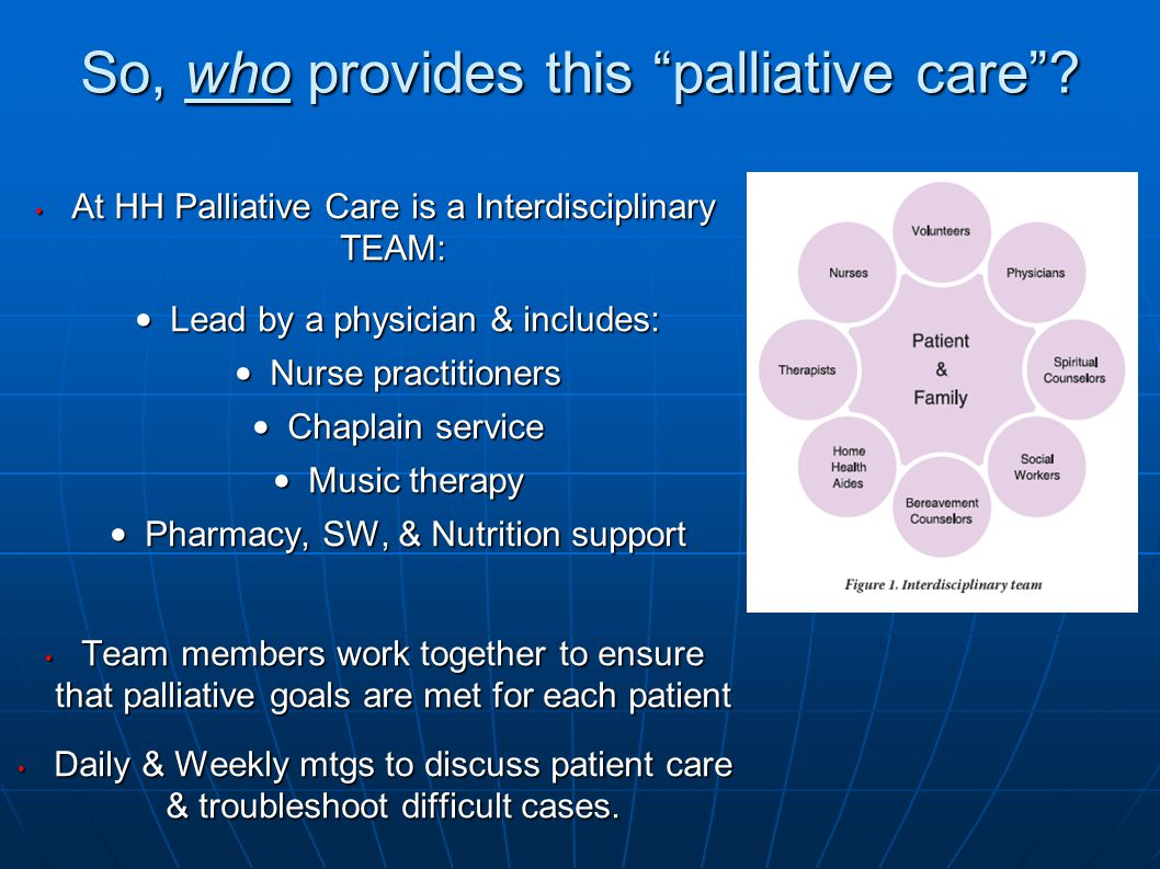 So, who provides this palliative care