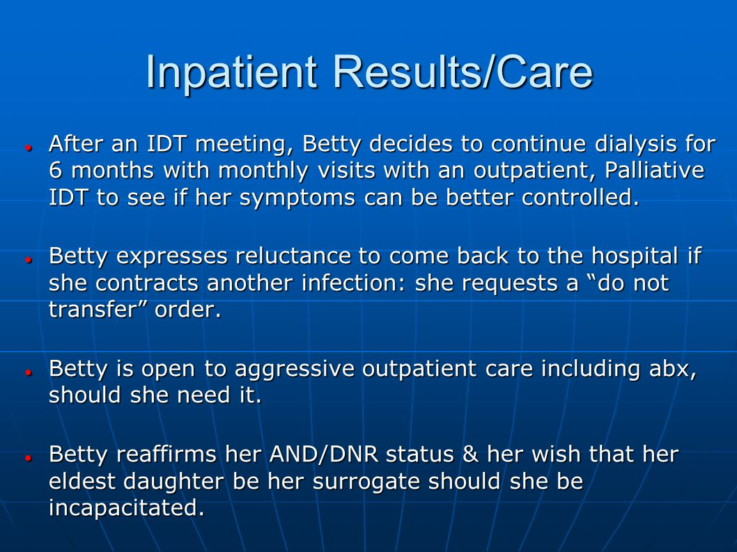 Inpatient Results/Care