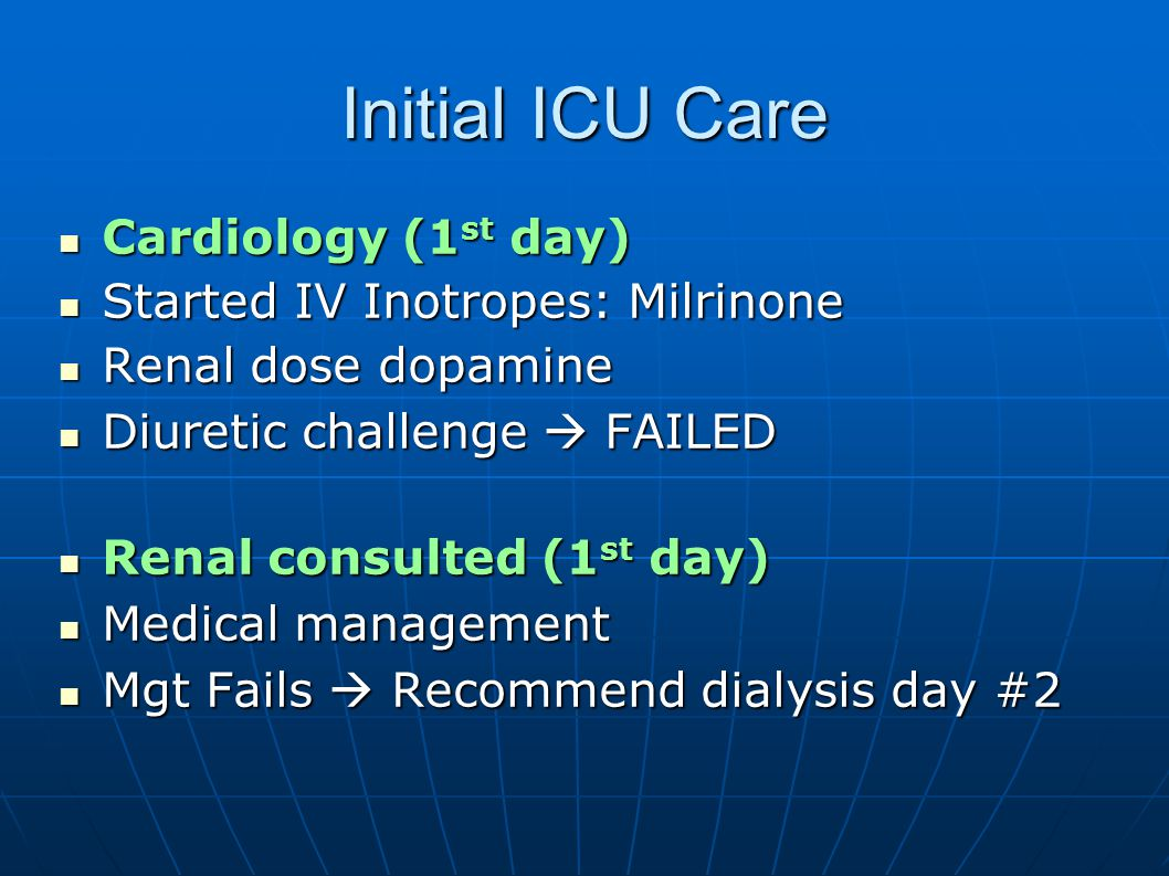 Initial ICU Care Cardiology (1st day) Started IV Inotropes: Milrinone