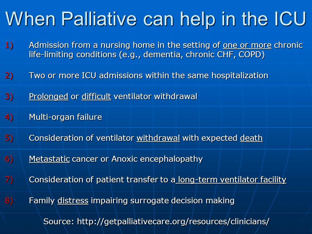 When Palliative can help in the ICU