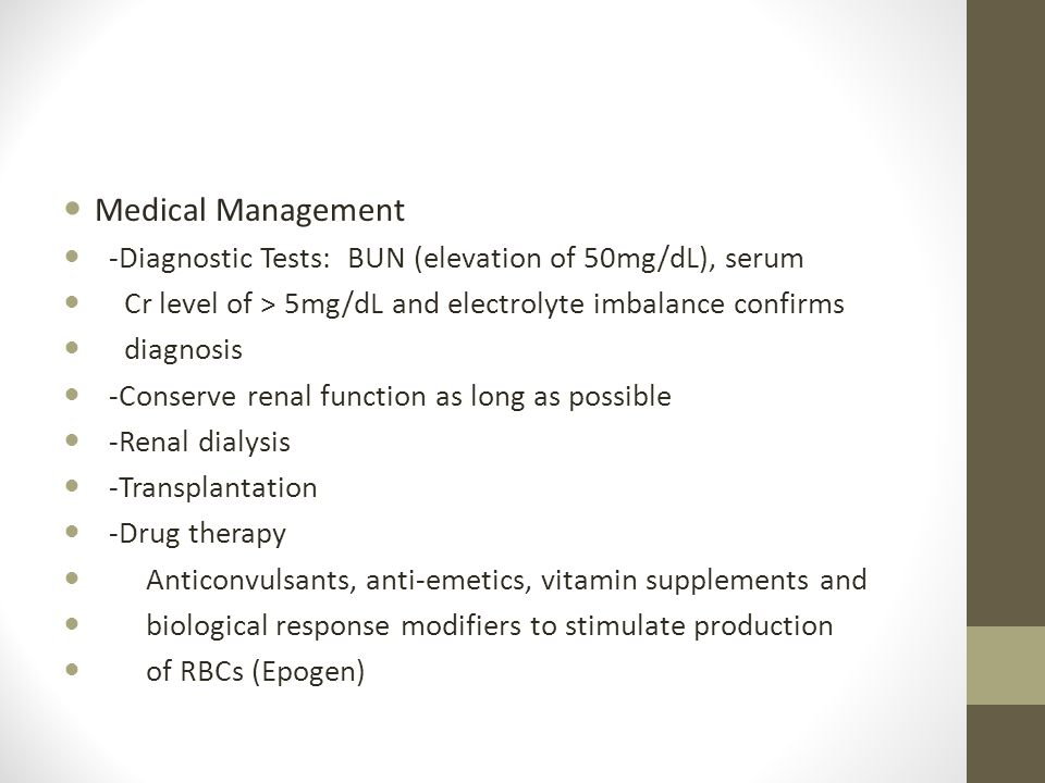 Chronic Renal Failure Medical Management