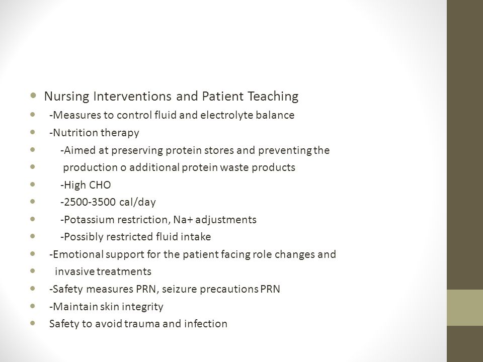 Chronic Renal Failure Nursing Interventions and Patient Teaching