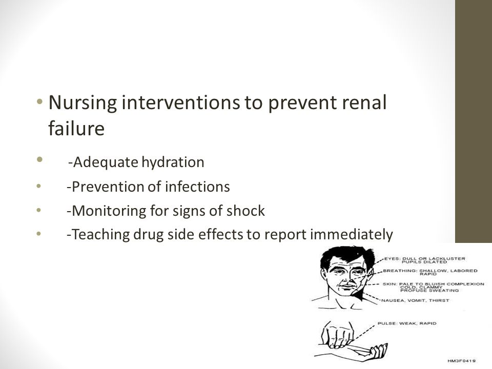 Nursing interventions to prevent renal failure -Adequate hydration