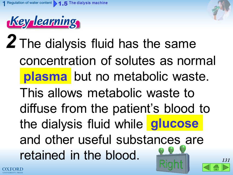 2 The dialysis fluid has the same concentration of solutes as normal